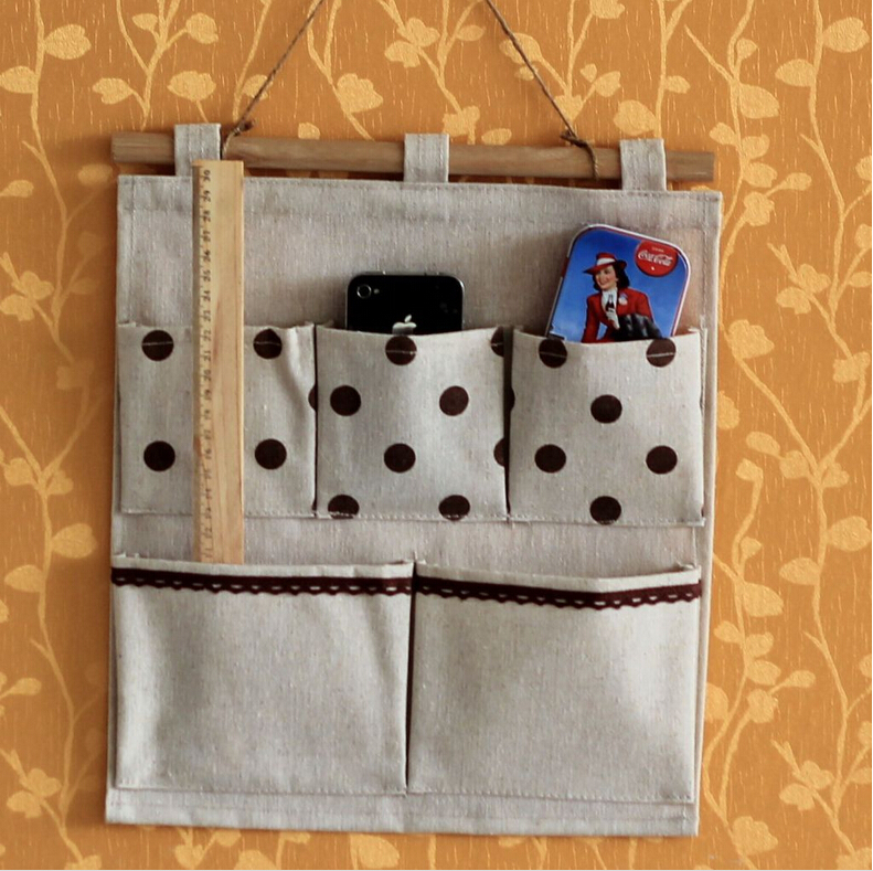 Polka dot storage bags space saver home organizer behind door bags on wall hanging storage bag for phone remote small objects(China (Mainland))