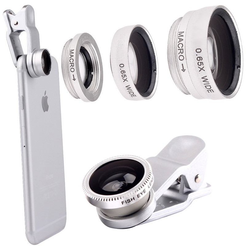 Silver 3 in 1 Clip-On 180 Degree Fisheye 0.67X Wide Angle 10X Macro Mobile Phone Camera Lens For iPhone 6/6 Plus,5 5S 4S Samsung(China (Mainland))