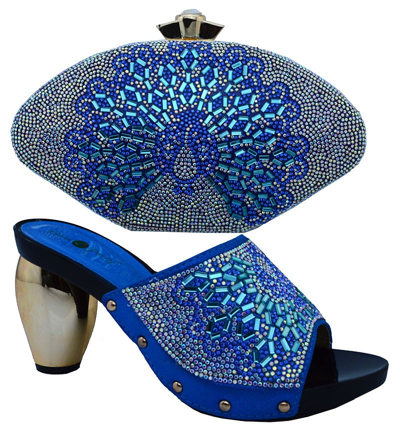 African Women Bags And Shoes For Wedding Heels Rhinestones Good Quality 2016 Latest Italian Shoes With Matching Bags WTT1-25
