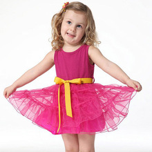 2016 Girls Princess One Piece  Belt Tutu Dress Cotton Clothing Size 1-6Y