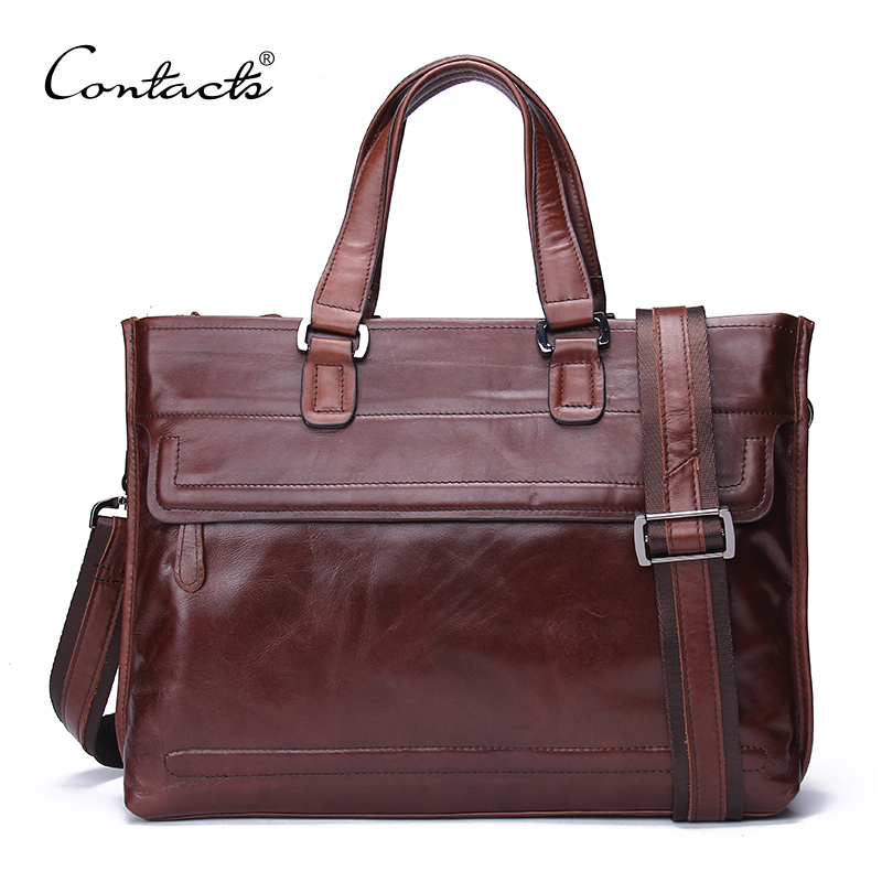 2016 New Genuine Leather Bag Men Leather Briefcase Laptop Business Brand Handbags Men Travel Bags Large Capacity Shoulder Bags(China (Mainland))
