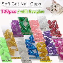 New FASHION SPARKLE color Cat  Nail Caps soft cat  Claw  Soft Paws100PCS/lot with free Adhesive Glue Size XS S M LGift for pet(China (Mainland))