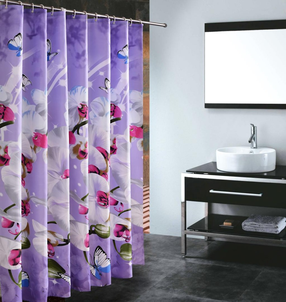 Purple butterfly curtains - Fabric Butterfly Shower Curtains Purple Butterfly Shower Curtain