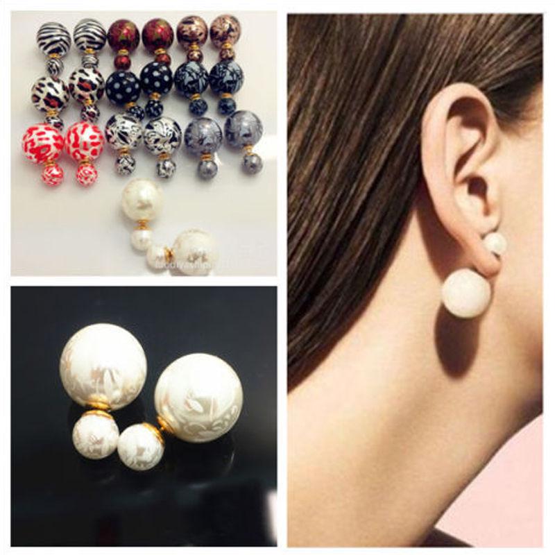 1 pair Celebrity Runway Double Pearl Beads Plug Earrings Ear Studs Pin Big Pearl pendientes Earrings 11 Colors(China (Mainland))