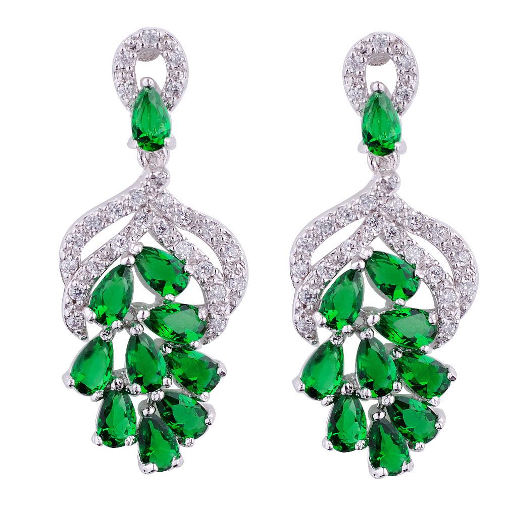 Jewellery Vintage Green Cubic Zircon Crystal Drop Chandelier Dangle Emareld Earrings for women 2015 New Arrive(China (Mainland))