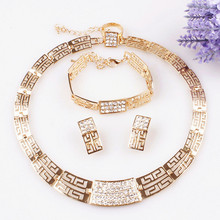 Free Shipping Fashion Necklace and Earring bride vintage chain Dubai Jewelry Sets Austrian Crystal For Women Wedding Gift(China (Mainland))