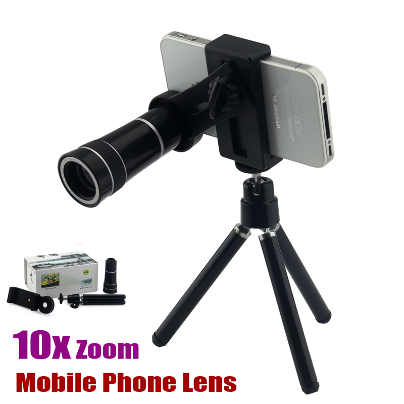 Universal Mobile Phone Lens 10x Zoom Optical Long Focal Telescope Tripod Holder Camera For iPhone 6 5 Samsung Galaxy S5 Note 3 4(China (Mainland))