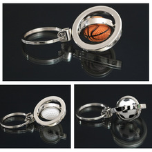 1Pcs 3D Rotating Ball Key Buckle Sports Basketball Football Golf Ball Key Chain Car Key Ring Keychain Key Holder Keyfob Men Gift(China (Mainland))