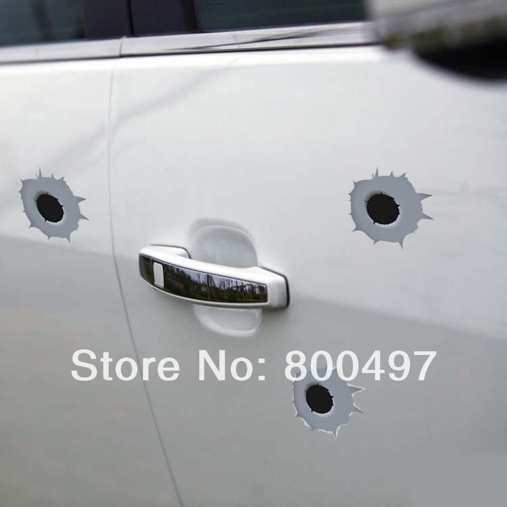 6 x Funny Simulation Gun Bullet Hole Stickers Car Decal for Toyota Ford Chevrolet Volkswagen VW Honda Hyundai Kia Lada(China (Mainland))