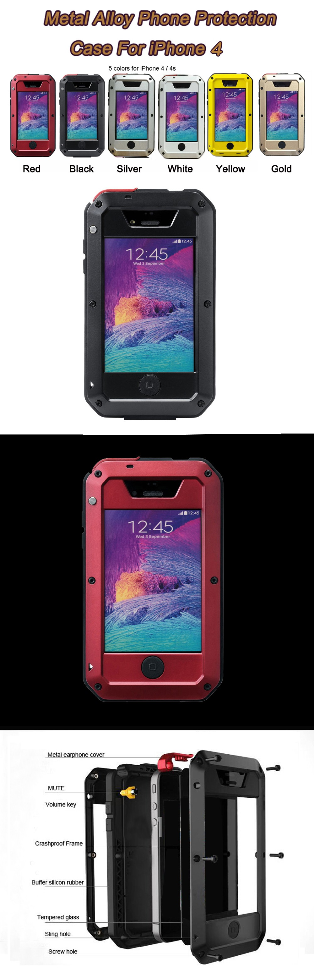 Fast shipping For iphone4 full protective case life dropproof dirtproof shockproof,for iphone4s case with screen film protection