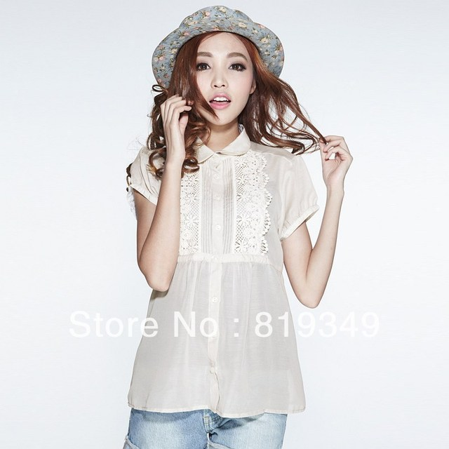 FREE SHIPPING 2013 NEW VANCL Women Blouse Georgia Short Sleeve Chiffon Shirt Fashionable Sweet Wear Puff Sleeve Light Colour
