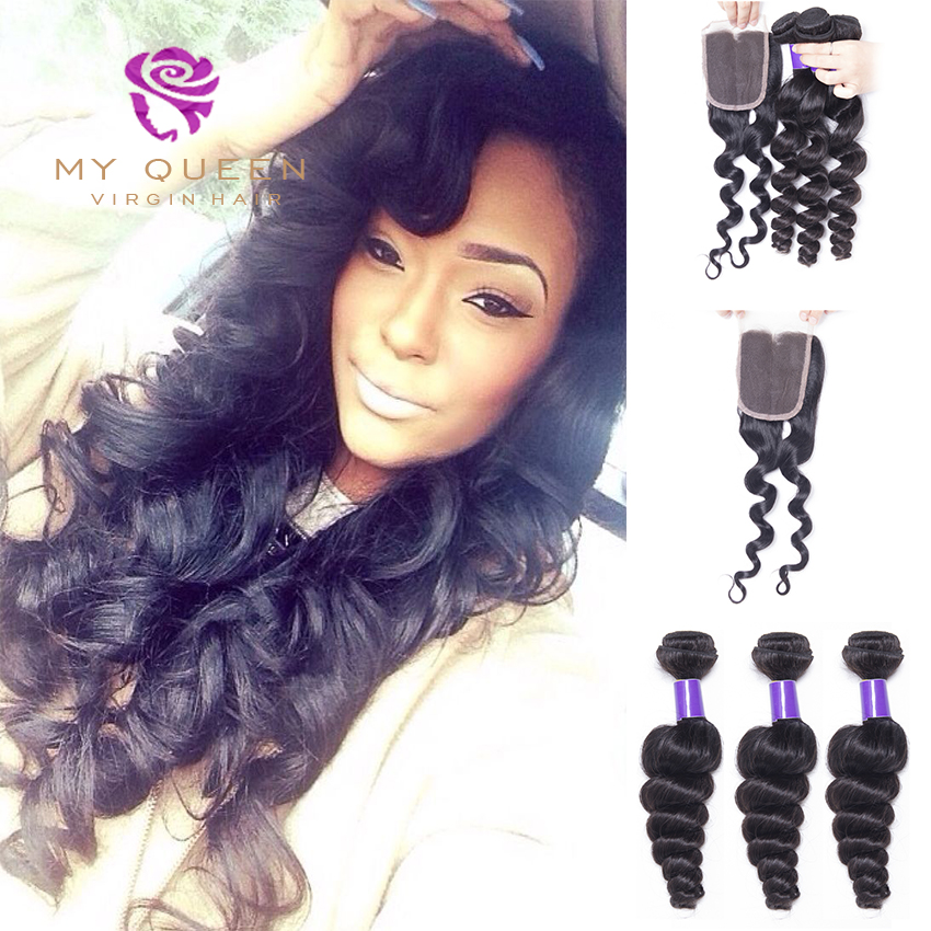 Brazilian Hair Weave 3 Bundles With Closure Rosa Hair Brazilian Loose Wave Hair With Closure Cheap Brazilian Virgin Hair Closure