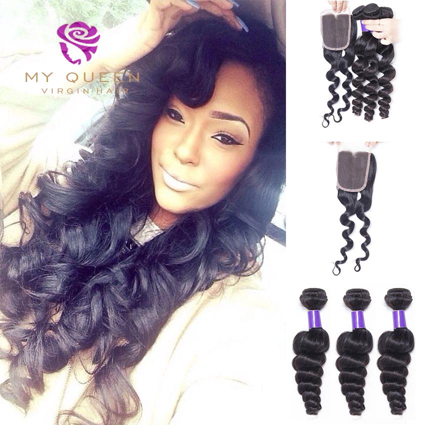 Brazilian Hair Weave 3 Bundles With Closure Rosa Hair Brazilian Loose Wave Hair With Closure Cheap Brazilian Virgin Hair Closure