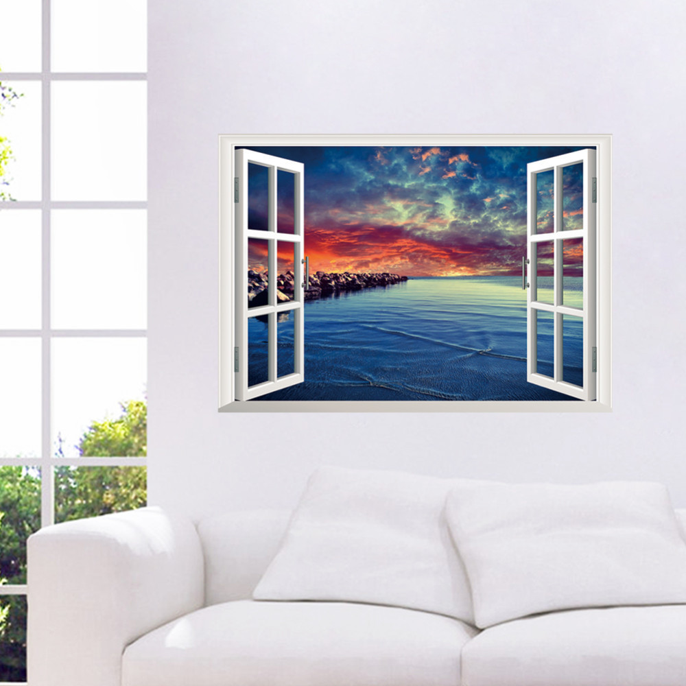 Rock Evening Beach 3D Art Window Wall Stickers Removable Mural waterproof Decal Home Decor * - Shanghai Paradise home decoration store