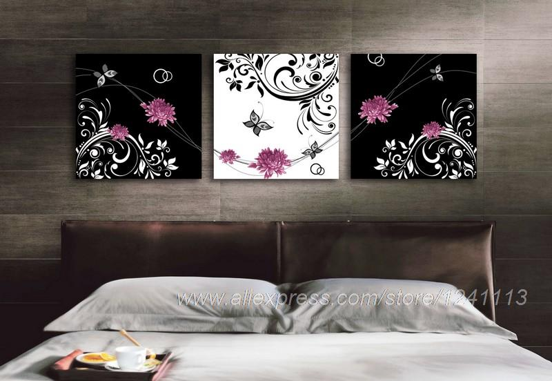 Pink flowers and butterflies reproduction print on canvas for Home decor 90 off