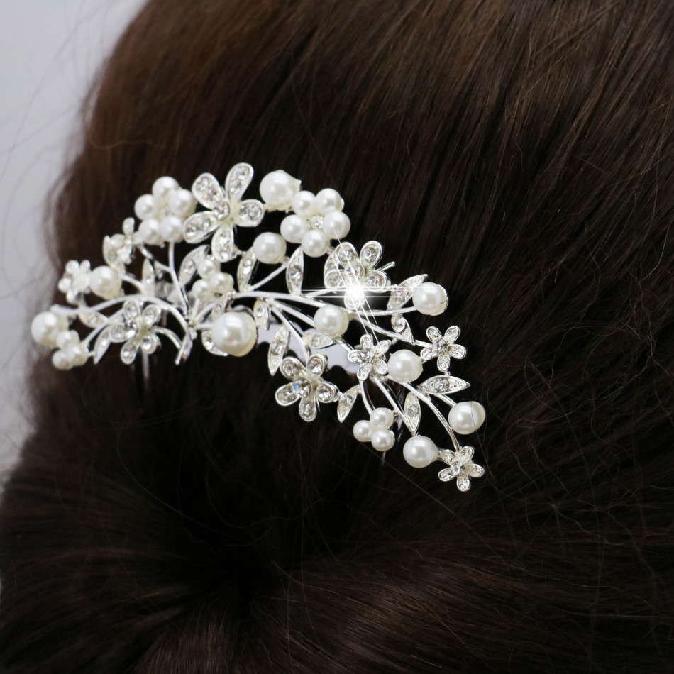 Beautiful Bride Flower Hairpin Leaves Hair Comb Elegant Hair Clips Female Crystal Jewelry Hair Accessories Valentine's Day Gift(China (Mainland))