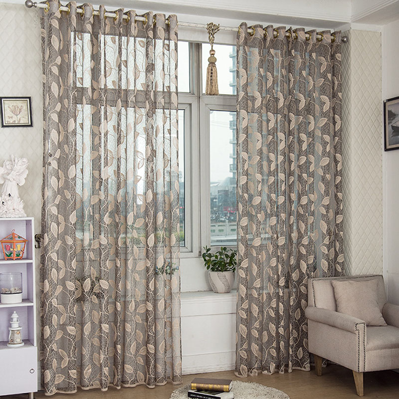 Leaves Design Sheer Curtain Panel Lace Fabric Curtain For Living Room Balcony