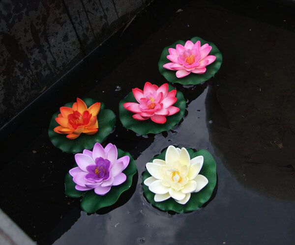 free shipping artificial lotus plastic flower Water lilies for Wedding Party Home Decoration Water Lily Floating Pool Plants(China (Mainland))