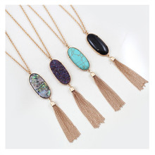 Buy free New fashion women jewelry wholesale Geometric color tassel pendant long necklace sweater chain female Store) for $2.68 in AliExpress store
