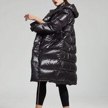 2019 зимние женские с капюшоном Стильные Одноцветный мешок с длинным рукавом капюшон Свободный теплый глянцевый пуховик пальто(China)