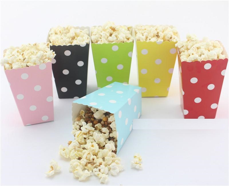 Polka Dot Popcorn boxes paper bag birthday party Baby Shower Favors wedding bridal engagement Bachelorette decorations(China (Mainland))