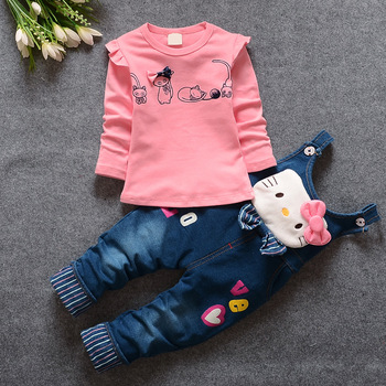 2016 Spring Baby Girl Sets 3-24months cotton baby girl clothes newborn clothing denim GD-261 baby casual sets