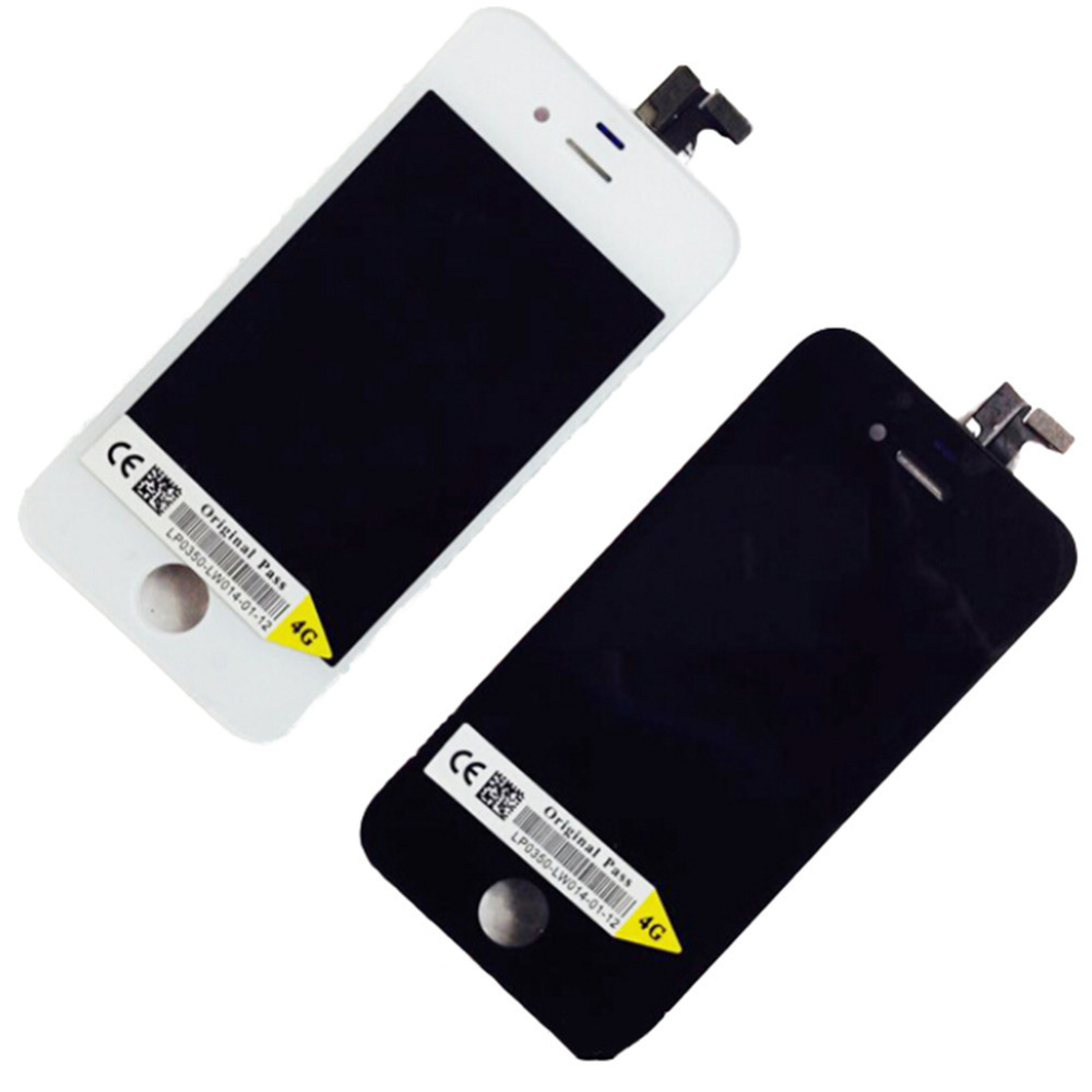1pcs For Apple iPhone 4 LCD Display Touch Screen digitizer LCDs Assembly Mobile phone Replacement parts black white for iPhone4(China (Mainland))