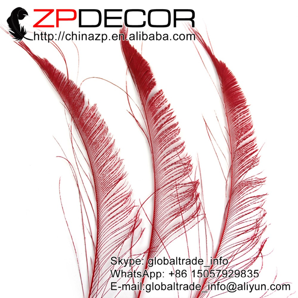 ZPDECOR 50pcs/lot 30-40cm(12-16inch) Hand Select Premium Red Bleached Peacock Sword Cut Feathers Birthday Party Decoration(China (Mainland))