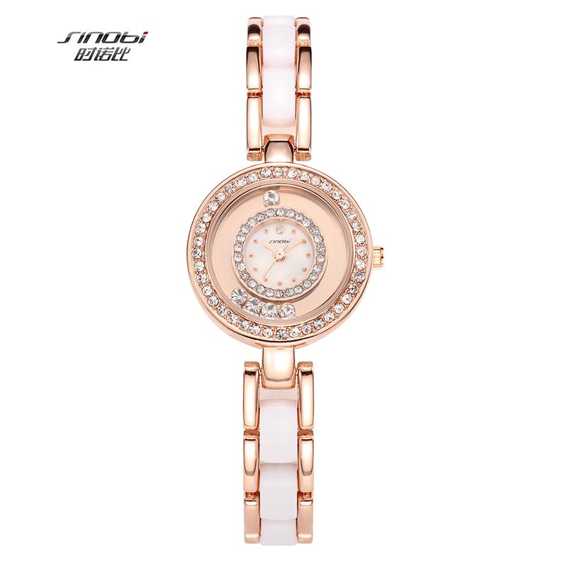 2016 SINOBI New luxury Women watches lImitated Ceramic Strap waterproof women Wristwatches ladies Quartz dress Bracelet Watches <br><br>Aliexpress
