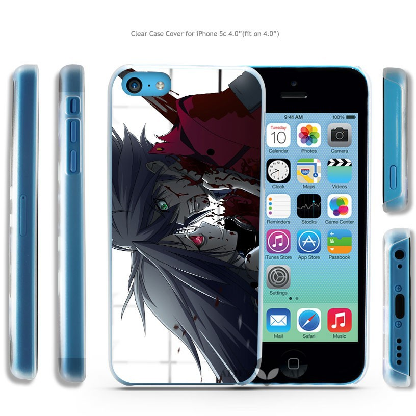 anime blood murder boy girl Hard Transparent Clear Case Cover Coque Shell for iPhone 4 4s 5 5s 5c 6 6 Plus