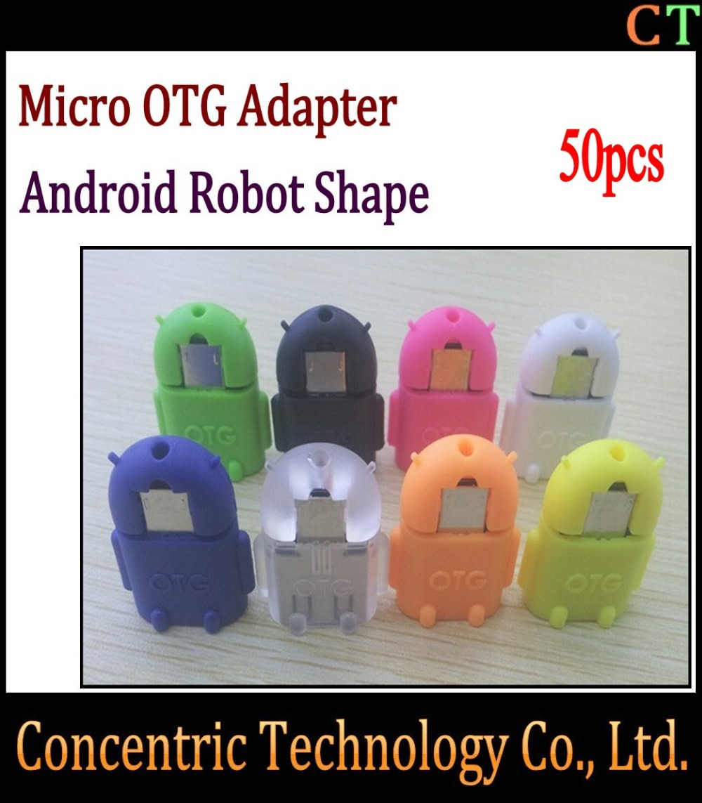 50cps Micro usb to USB Android robot shape for OTG adapter for smartphone tablet pc, Micro OTG cable, Micro OTG adapter