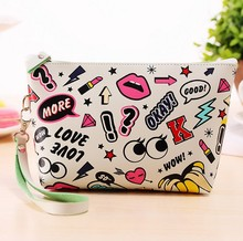 New style 3D printing cosmetic bag fashion waterproof travel storage bag high-capacity clutch bag