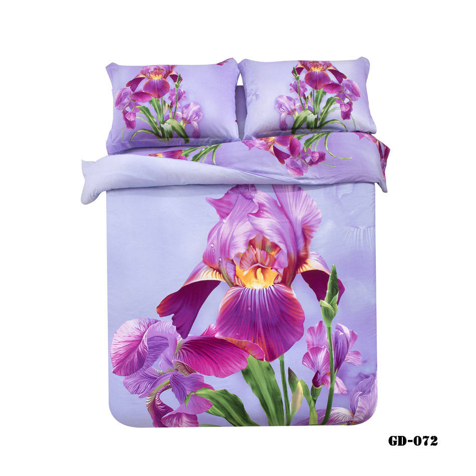 (3-7 piece) 100% Organic Cotton 3D king bedsheet purple flower print doona cover set on sale queen bed linen bedding(China (Mainland))