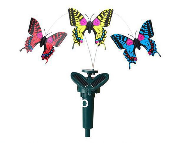 New Solar Power Dancing Flying electric Butterfly Butterflies exotic toys insect toys Hot best kids gift!,Garden Yard Decor(China (Mainland))