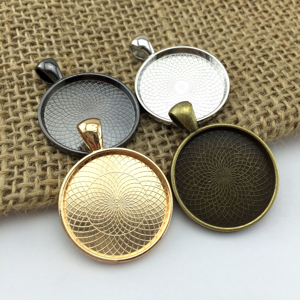 5pcs 25mm Silver Gold Black Plate Necklace Pendant Setting Cabochon Cameo Base Tray Copper Bezel Blank Jewelry Making Findings(China (Mainland))