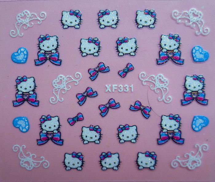 Fashion 1 Sheets 3D Design cute DIY cartoon colorful diamonds Tip Nail Art Nail Sticker Nails Decal Manicure nail tools XF331(China (Mainland))