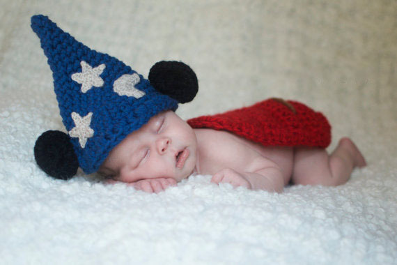 Baby boy hat, baby girl hat, crochet sorcerer mouse, photo prop, Mickey Mouse, crochet newborn hat(China (Mainland))