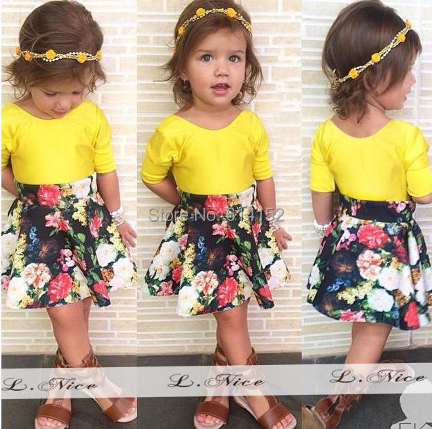 2015 Summer New Girls Clothing Sets suit Fashion yellow top+flower skirt Kids Clothes Cotton 1~6 Age Baby Girl dress Set - Hongfei Garment Co., Ltd. store