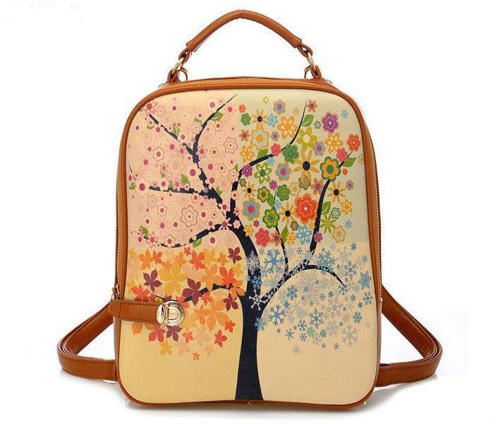 FREE SHIPPING 1PCS Korea Style Four Seasons Trees PU Leather Backpack