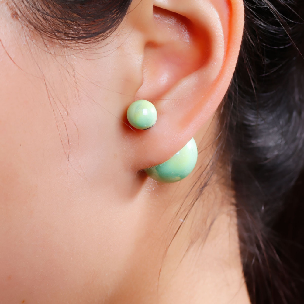 """New Fashion Lady Ear Studs Acrylic Earrings post Round Mint Green AB Color Pearl Imitation 24x16mm(1""""x5/8""""),1 Pair 2015 new(China (Mainland))"""