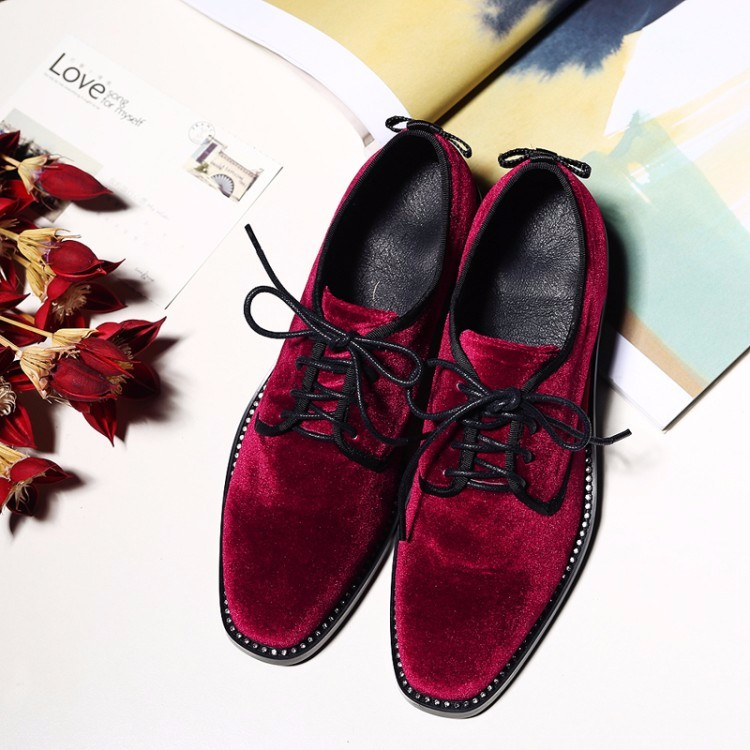 Velvet Women Flat Oxford Shoes Woman flats 2017 Fashion Leisure lace-up Brogue Oxfords women shoes Black, wine red, green