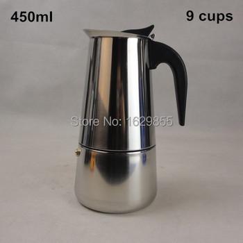 9 Cup / 450 мл нержавеющая сталь мока эспрессо латте перколяторе плитой кофе горшок