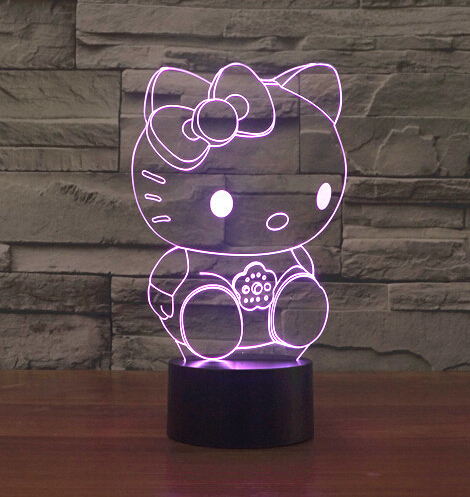 1 Piece 7 Color Change LED Night Light 3D Lamp Bulb Pink Kitty Shape Acrylic Lampada LED Fun Gift for Kids Drop Ship(China (Mainland))