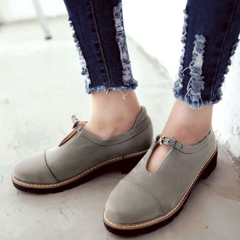 Women Flat Shoes Round Toe Casual Woman Shoes Spring Fashion Flats Street Style Buckle Shoes Ladies Footwear Size 32-43 G1005
