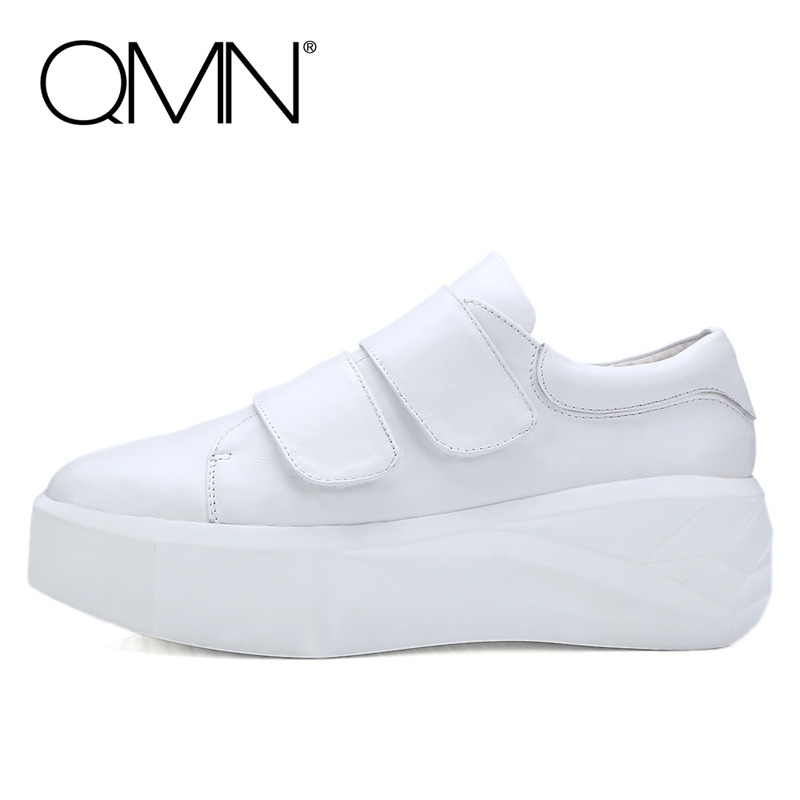 Фотография QMN genuine leather women platform flats Magic Tape Flat Platform Shoes Woman Creepers With Glitter Ladies Shoes More Colors