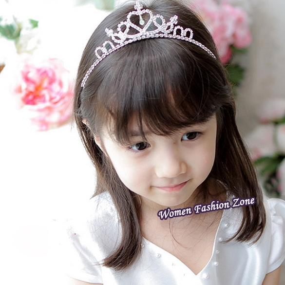 Big Promotion Lovely Cute Girls Rhinestone Princess Crown Headband Tiara Hair Accessories Band Sticks Silver Free Shipping JLYP(China (Mainland))