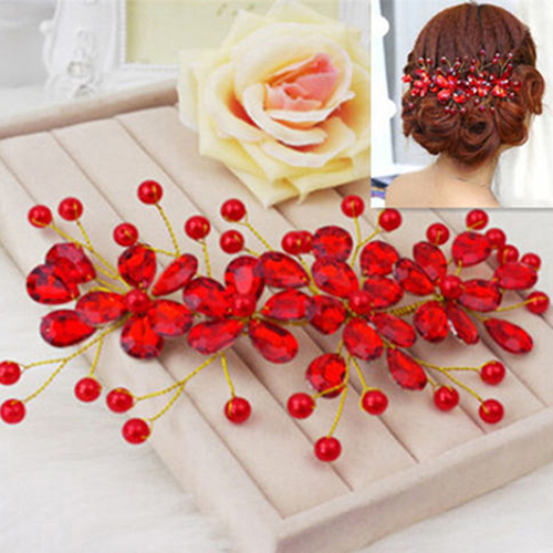 Fashion! Women's Red Flower Wedding Bridal Party Accessary Handmade Hair Pin Clip Jewelry AAW4(China (Mainland))