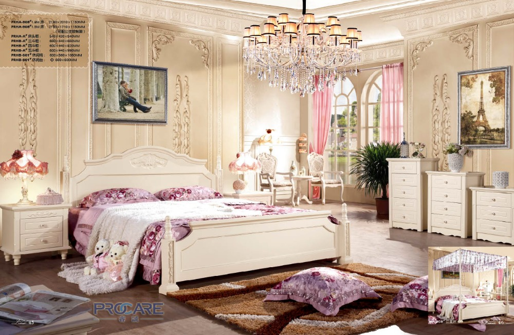 european style wooden bedroom furniture set with Three drawer cabinet and Leisure Table chair-PRF808(China (Mainland))