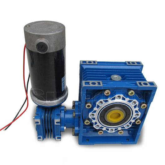 GW030063 DC 24V 6.5A 100W Ultra low rpm High Torque high power Double Output Bore Electric Worm Gear Reducer dc Motor Durable(China (Mainland))