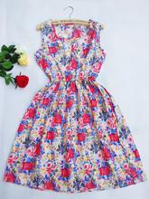 2016 Summer Women dress New Brand Casual Print Sleeveless Chiffon stripe floral print Elastic Waist Bohemian Beach Dresses(China (Mainland))